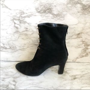 CHANEL Black Suede Ankle Boots With Gold Chains